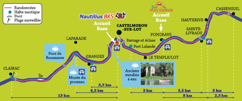 Randonnées en canoë-kayak sur le Lot de Casseneuil à Clairac